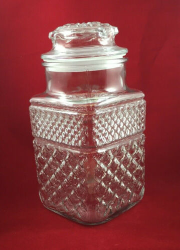 """VTG Anchor Hocking WEXFORD Glass Canister Storage Jar+Lid -9"""" Tall - 6 Available"""