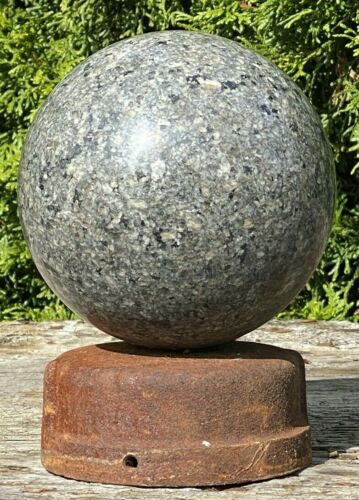 "Vintage 5"" Polished GRANITE BALL, Iron Cap Base ~ Architectural, Fence Finial"