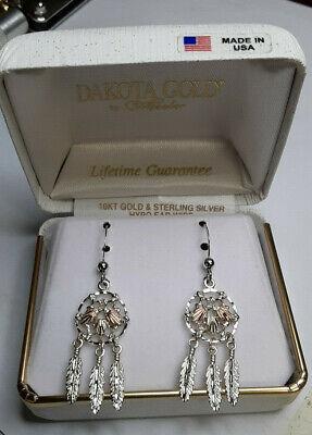 Black Hills Gold Black Earrings (Black Hills Gold 12 kt Leaves Sterling Silver Dream Catcher Earrings *BRAND NEW! )