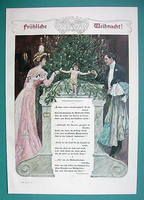 MERRY CHRISTMAS Young Couple Cupid Tree Poem - COLOR VICTORIAN Era Print (Christmas Tree Poem)