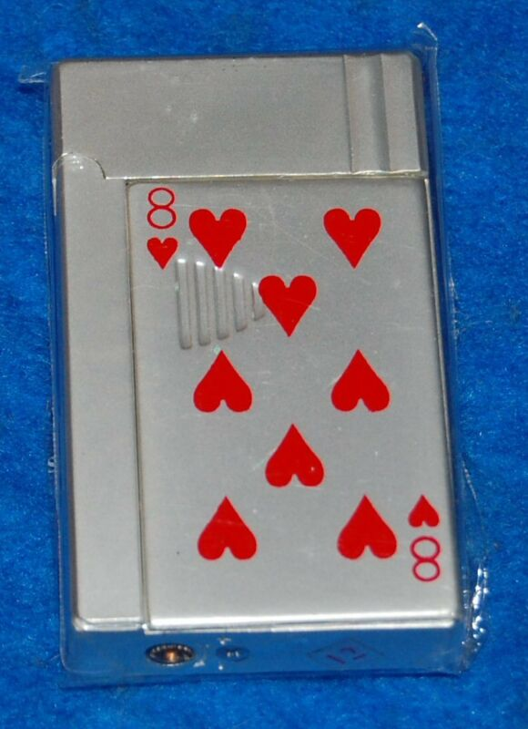 Eight 8 of Hearts Playing Card Green Torch Lighter, New