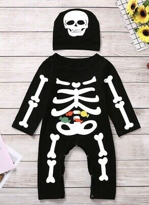 Fasching Halloween Kostüm Strampler Skelett Mütze 2 - 8 Monate