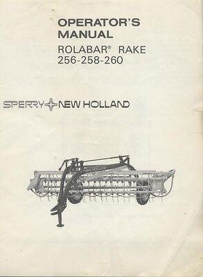New Holland 256 258 260 Rolabar Bar Hay Rake Operators Manual Owners
