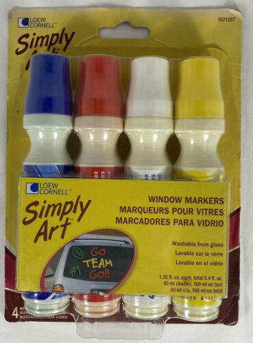 Washable Car Window Paint Markers - 4 Color Pack - Simply Art