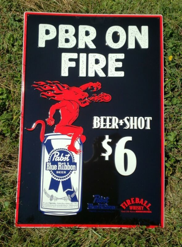 Pabst Blue Ribbon PBR Fireball Whiskey Large Metal Sign glow in the dark 3ftx2ft