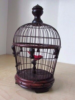 """WOODEN DECORATIVE BIRD CAGE/ HANG OR TABLE with Wire bars & Red Bird 9"""" high"""