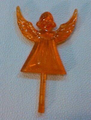 ORANGE ANGEL TOPPER Ceramic Christmas Tree Lights Star VINTAGE