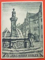 Exlibris, Ex Libris ,hanna Vogler, Art Nouveau, Stadt, Fontane -  - ebay.it