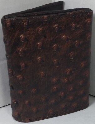 NEW MEN TRI-FOLD OSTRICH EMBOSSED LEATHER WALLET BROWN CARD HOLDER GIFT FOR (Brown Embossed Leather Tri Fold)