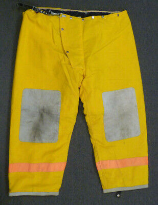 50x30 Alb Inc. Yellow Firefighter Pants Bunker Turn Out Gear Suspenders P009