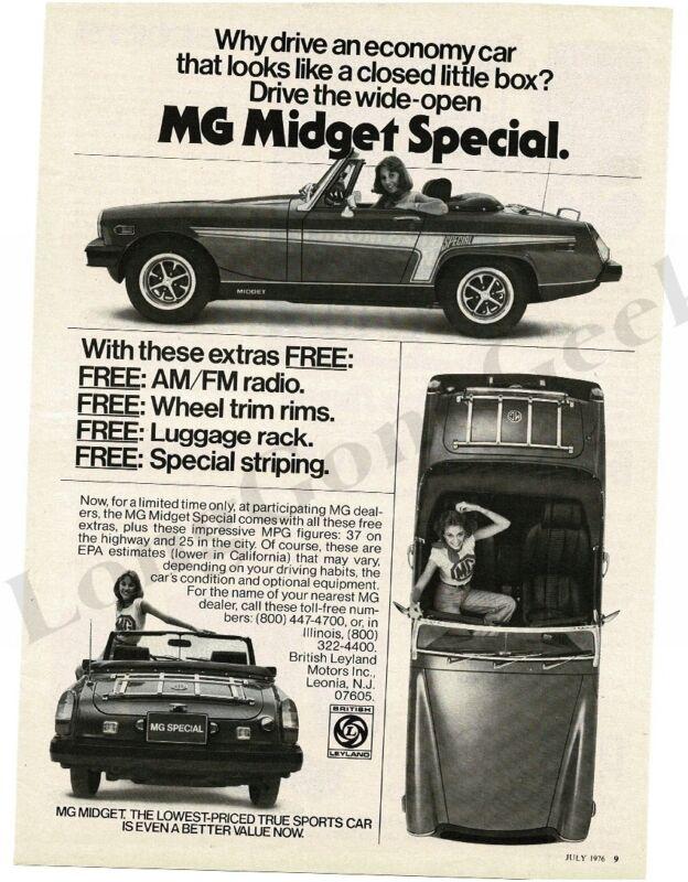 1976 MG Midget Special Vintage Print Ad