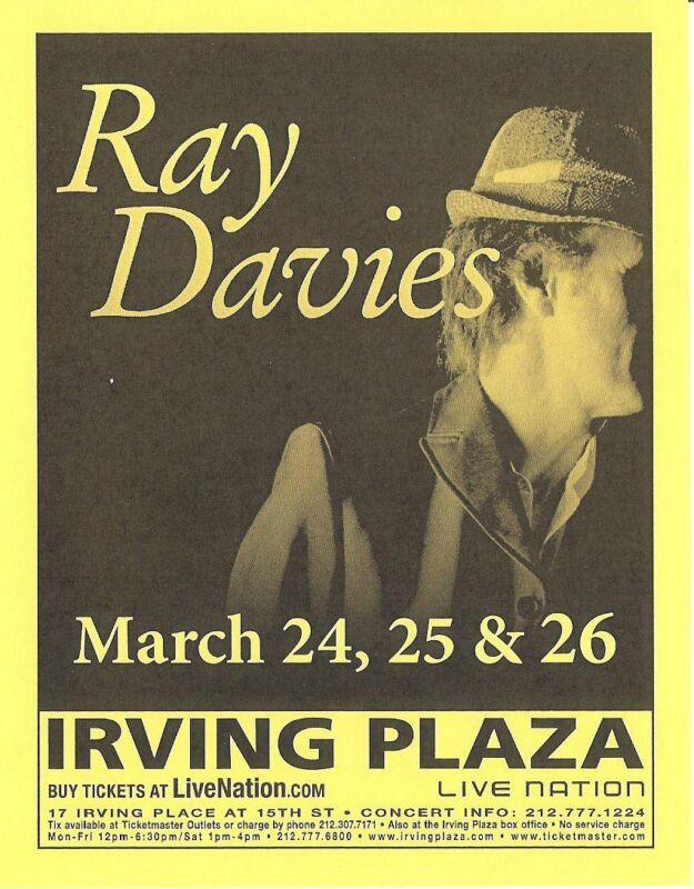 The Kinks Ray Davies Concert Handbill Flyer NYC 2006