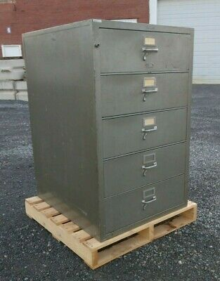 Vintage Fireproof Shaw Walker Heavy Duty Five Drawer Vertical File Cabinet