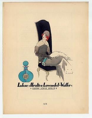 Art Déco-Lohse-Lavendel-Wasser-Reklame-Mode-Parfum - Lithographie aus Styl 1924