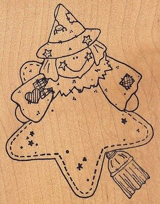 """star witch raindrops Wood Mounted Rubber Stamp 4 x 3""""  Free Shipping"""
