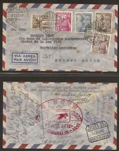 1951-Sobre-circulado-de-Madrid-a-Buenos-Aires-matasellos-precioso