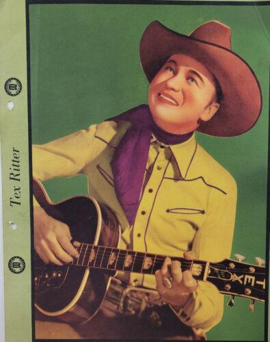 Tex Ritter 1940 Music Cowboy Vtg Dixie Cup Ice Cream Photo Premium Original
