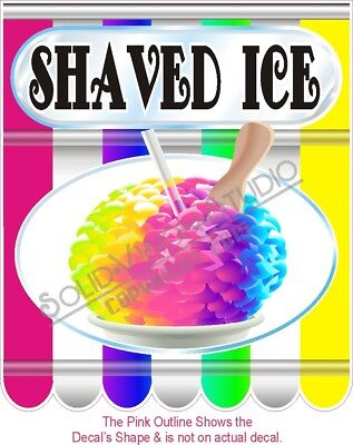 Shaved Ice Concession Trailer Food Ice Cream Truck Sign Menu Sticker Decal