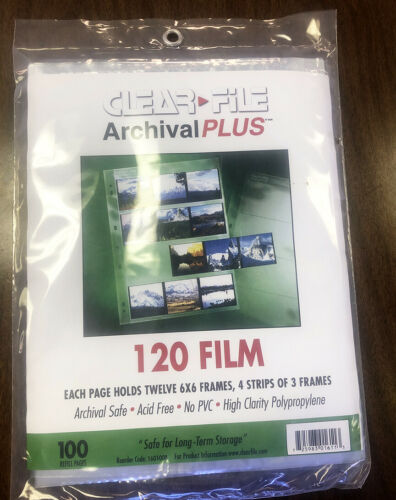 120 Film Negatives Photo Pages Sleeves Archival Preserves Pages, 100 PK 160100B
