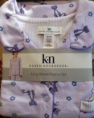 Karen Neuburger Pajama 2 Pc. Set Medium Lavender Cat NWT