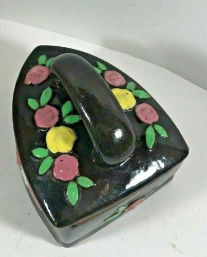 Vintage Ceramic Floral Coal Iron Jewelry Trinket Box