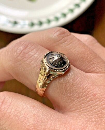GEORGIAN 14k Rose GOLD STAR Illusion Ring Domed Rose Cut Diamond Antiq Victorian