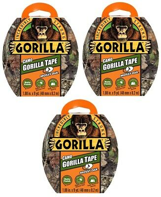 Lot Of 3 Gorilla Tape 27yd. Total Mossy Oak Camo Hunting Hiking Camping Fishing