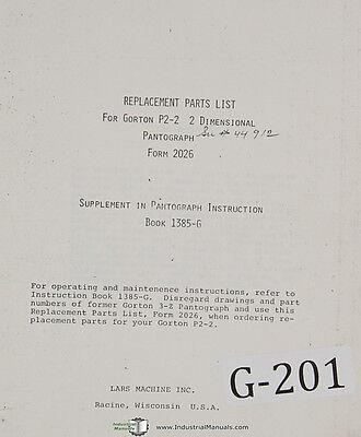 Gorton P202 2 Dimensional Pantograph Parts List And Assemblies Manual