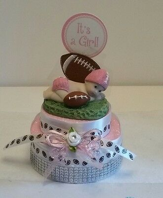 Sports Themed Baby Shower Decorations ( FOOTBALL THEME GIRL BABY SHOWER BIRTHDAY CAKE TOPPER PARTY DECORATION)