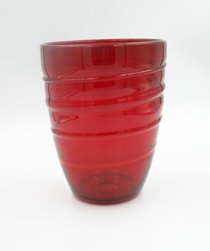 "Vintage Whitefriars Ruby Ribbon Trail Vase, G. Baxter 7"" #9030"
