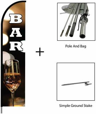 Bar Feather Flag Swooper Banner Pole Kit Outdoor Restaurant Store Sign 15ft