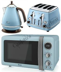 blue microwave kettle and toaster set delonghi icona and swan retro brand new ebay. Black Bedroom Furniture Sets. Home Design Ideas