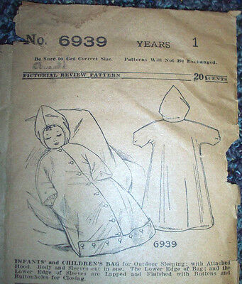 1920s Style Purses, Flapper Bags, Handbags 1910's 1920's Baby bunting bag for outdoor sleeping  pattern 6939 size 1 year $14.99 AT vintagedancer.com