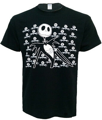 JACK SKELETON THE NIGHTMARE BEFORE CHRISTMAS BAT UNISEX BLACK T SHIRT TOP ()