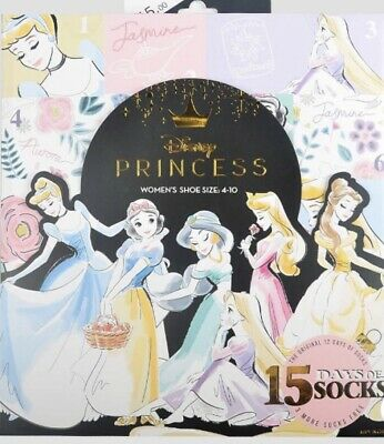 Women's Disney Princess 15 Days of Socks Advent Calendar 2019 - One Size