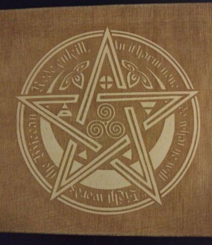 Detailed Pentacle Plaque Laser Engraved Wood Pagan Wiccan Pentagram