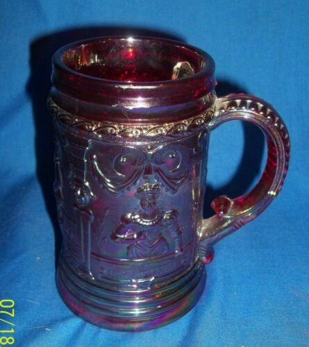 Beautiful Westmoreland Red Carnival Glass Mug Stein Tankard Victorian Queen