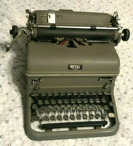"vintage ""ROYAL"" TOUCH CONTROL MANUAL TYPEWRITER w/GLASS KEYS ART DECO antique"