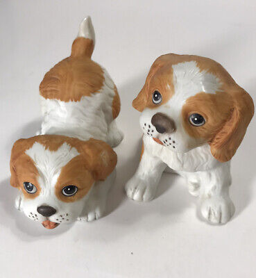 Vintage HOMCO Brittany Spaniel Dog Figurines Playful Puppies Home Interiors