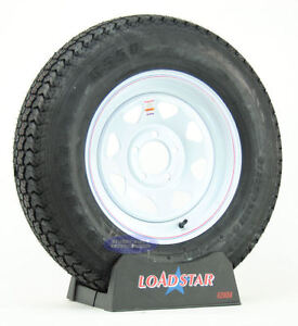 4-Trailer-Tires-ST-205-75D15-Bias-Ply-LRC-5-Bolt-White-Spoke-Wheel-15-F78-15