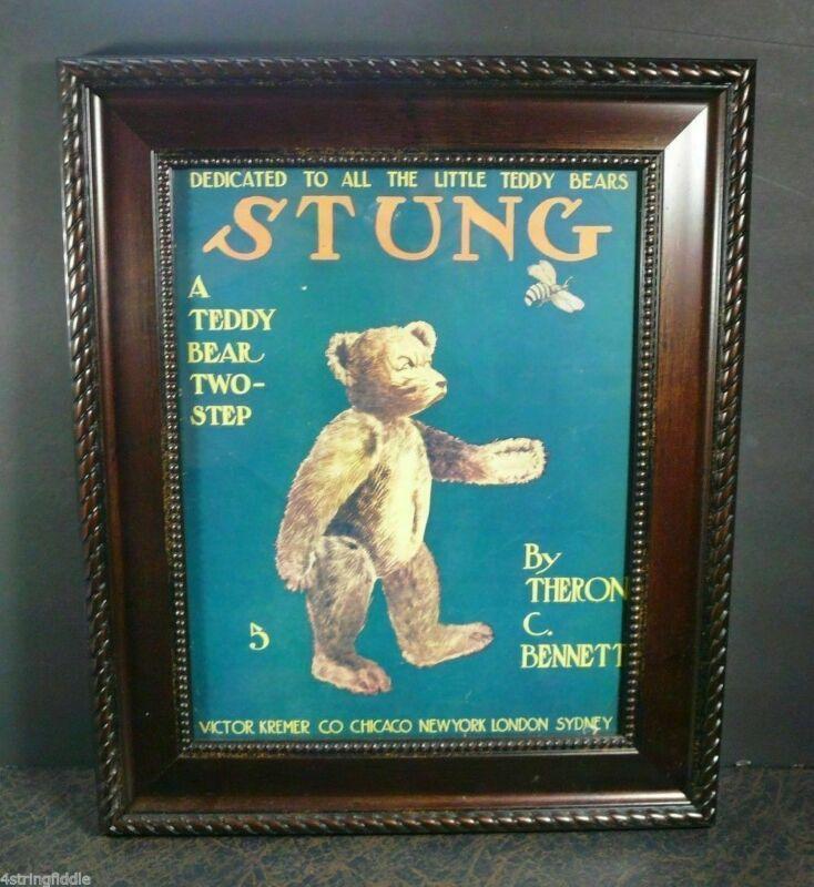 Antique 1908 Sheet Music: STUNG A Teddy Bear Two-Step Ex. Cond. FRAMED