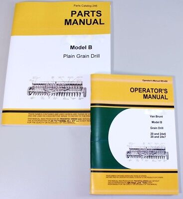 Operators Parts Manuals For John Deere Van Brunt B Grain Drill Catalog Seed