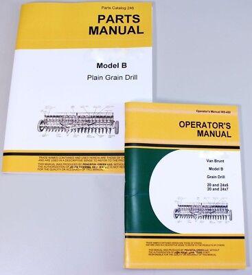 Operators Parts Manuals For John Deere Van Brunt B Grain Drill Catalog Seed