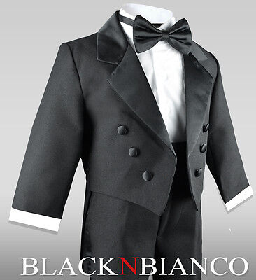 Baby Boys Toddler and Infants Ring Bearer Tuxedo in Black with Bow Tie  (Boys In Tuxedo)