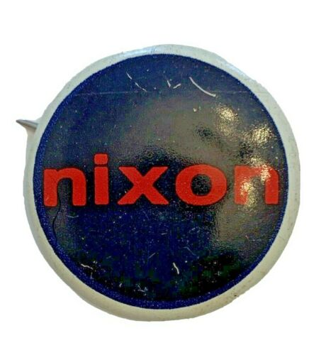"""Vintage Nixon Political Pin 1"""" Round Blue with Red Lowercase """"nixon"""""""