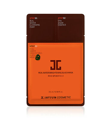 JAYJUN cosmetic 3 Steps Real Water Brightening Black Facial Mask 10pcs K  beauty
