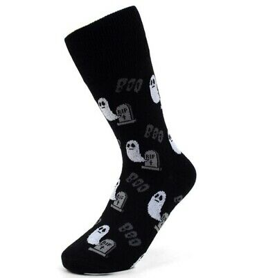 Halloween Headstone Sayings (New HALLOWEEN Womens Crew Socks BLACK WITH GHOSTS/HEADSTONES Says)