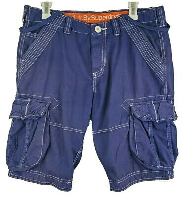 Superdry Core Lite Shorts Men's Medium 11in Blue Button Fly Pockets