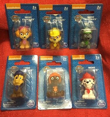 Set Of 6 Paw Patrol Mini Figures Figurines Zuma Rocky Marshall Rubble Chase Skye
