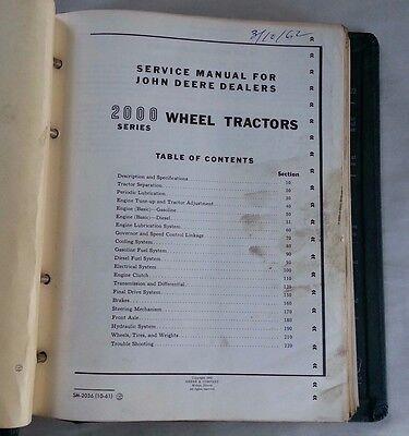 1960s John Deere 2000 Series Wheel Tractor Service Manual W Vintage Jd Binder